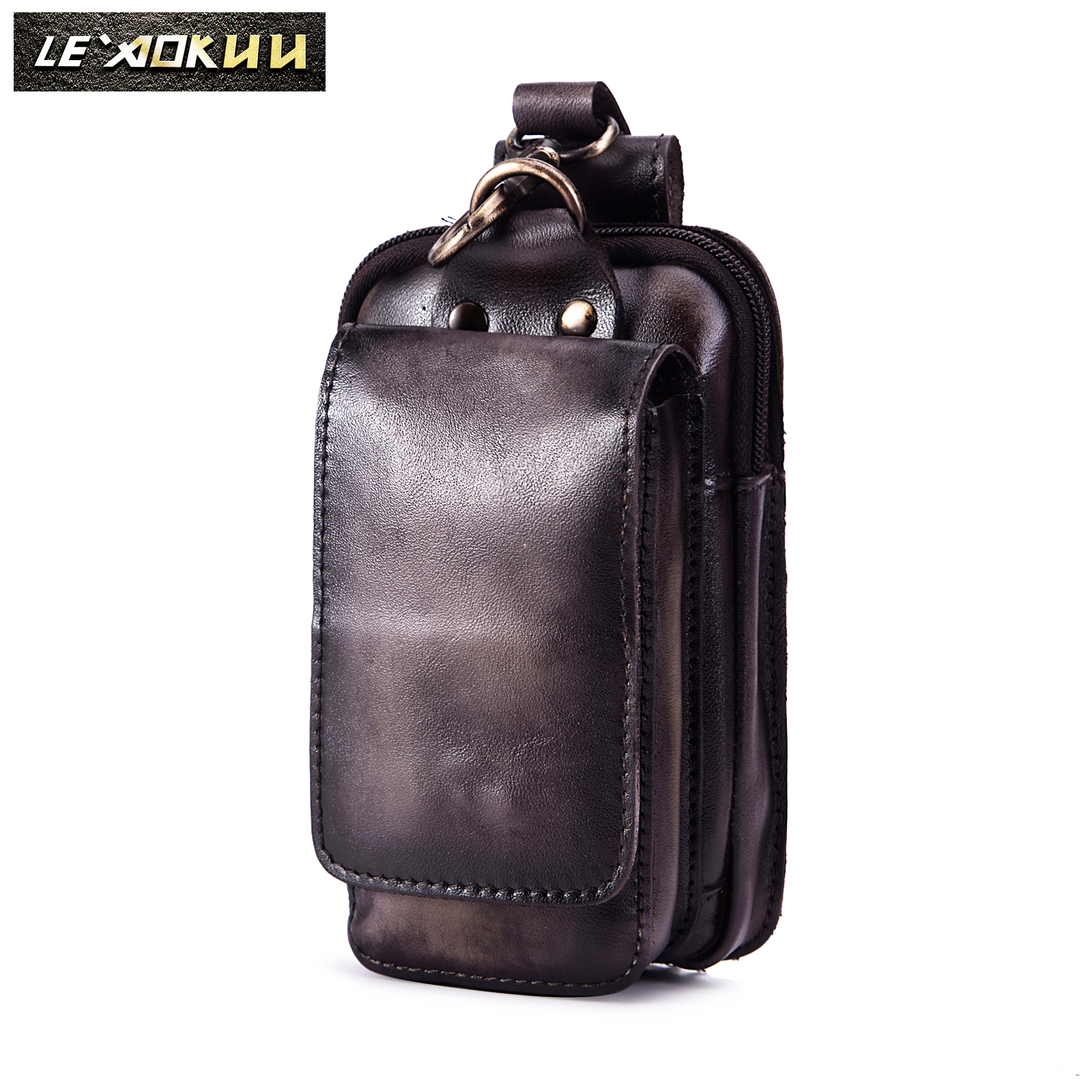 Real Leather Men Casual Design Small Cowhide Fashion Hook Bum Bag Fanny Waist Belt Pack Cigarette Case 6