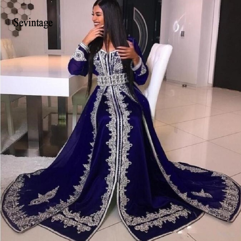 Sevintage Long Sleeve Muslim Prom Dresses Abaya Caftan Lace Appliques Dubai Evening Gowns Formal Party Dress Arabic Abendkleider