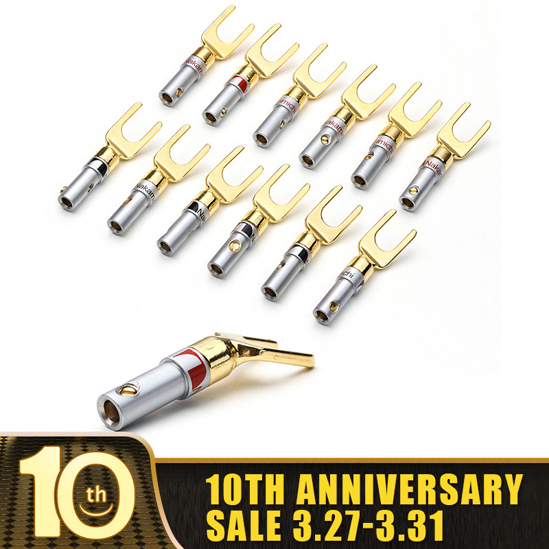 YT 8/12PCS Nakamichi Gold Plated Y/U- Type Banana Plugs Set Cable Wire Connector Fork Spade Speaker Plug Adapter Audio Terminals