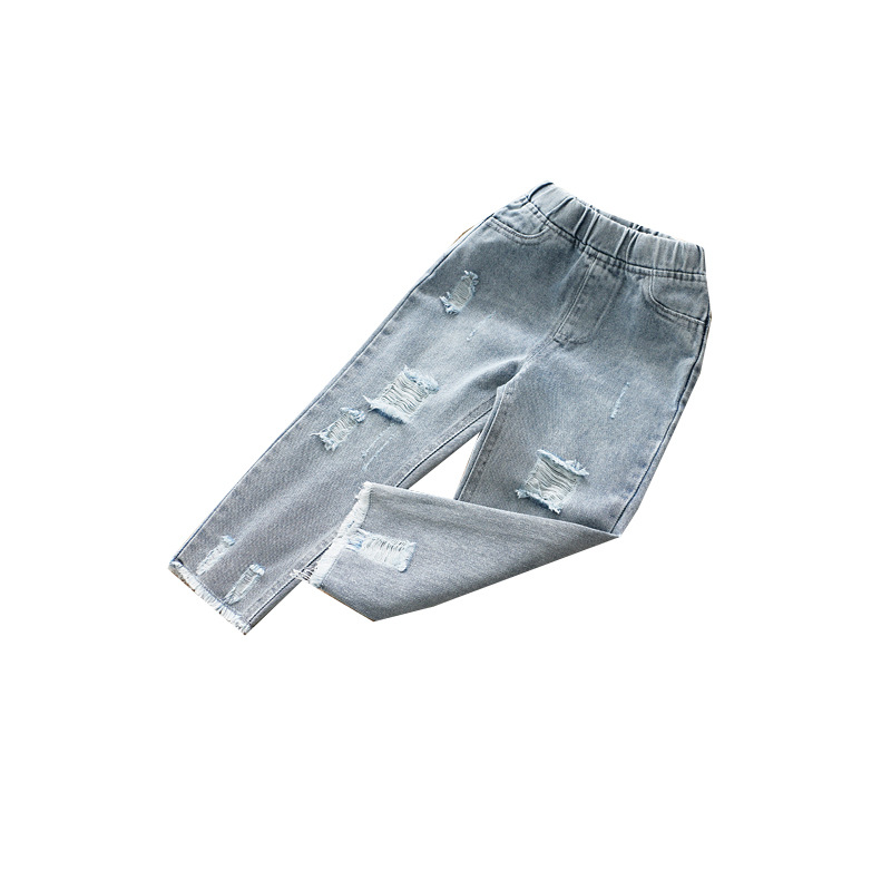 Image 5 - Boys and Girls Jeans 2020 Spring Hole Leisure PantsJeans