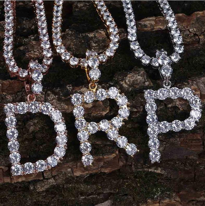 A-Z 5mm Tennis Chain Zircon Tennis Letters Necklaces & Pendant For Men/Women Gold Silver Color Fashion Hip Hop Jewelry 4