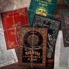 10 pçs coleção medieval do vintage de livros pegajosos notas bloco de memorando manuscrito nota diário fixo flocos scrapbook decorativo