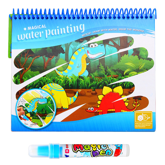 Magic Water Drawing Book With Magic Pen Painting Drawing Board Coloring Book Toys For Children Education Drawing Toy Kids Gifts 6
