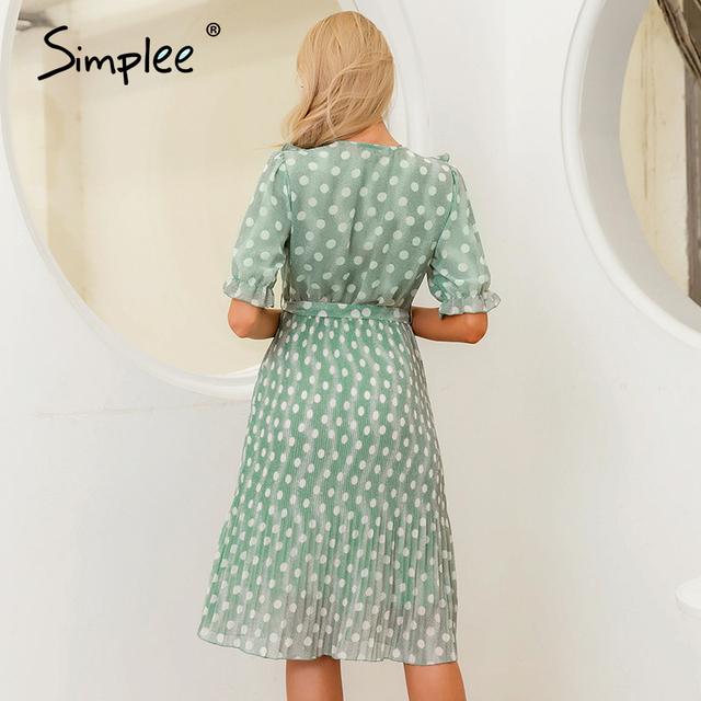 Simplee Elegant dot print women summer dress Short sleeve ruffle sash female midi dress Pearl buttons a-line ladies green dress