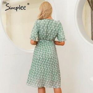 Image 4 - Simplee elegancka, w kropki drukuj kobiety letnia sukienka z krótkim rękawem wzburzyć szarfy kobiece midi sukienka perłowe guziki linia damska zielona sukienka