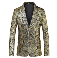 Men's Single Buckle Gold Foil Printed Golden Floral Print Suit DJ Club Stage Wedding Sports Slim Formal Fit Casual Men's Blazer