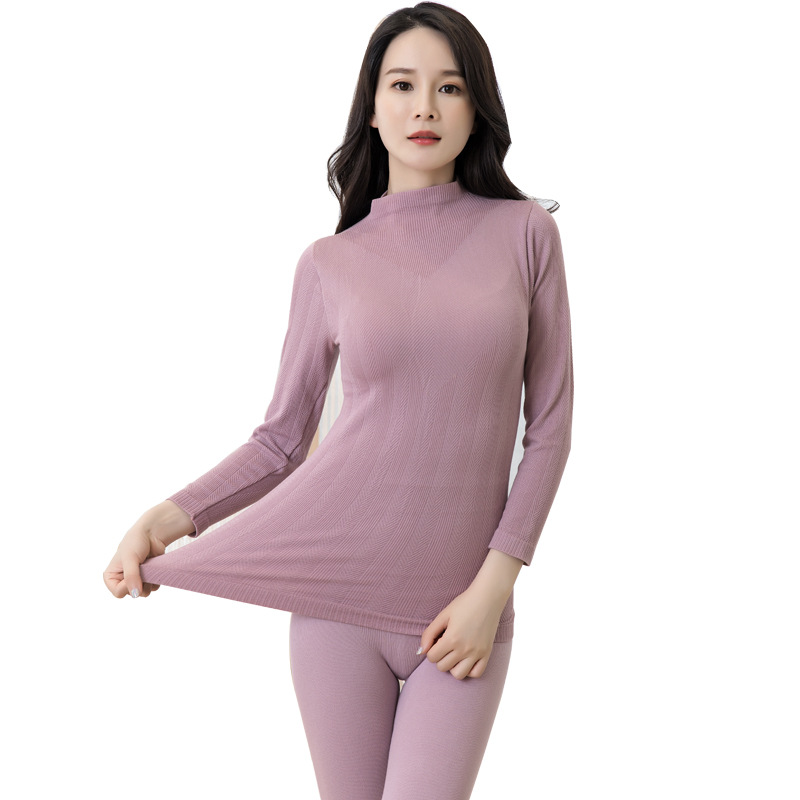 Hight Neck Shirt Base Women Thermal Underwear Set Long Johns For Women Thermal Clothing Second Skin Winter Female Thermal Suit