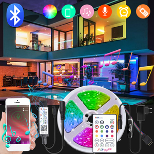 SMD 5050 Bluetooth LED Strip Light 12V 20M 10M 5M LED Lights RGB LED Tape Diode Ribbon Flexible Bluetooth Controller + Adapter
