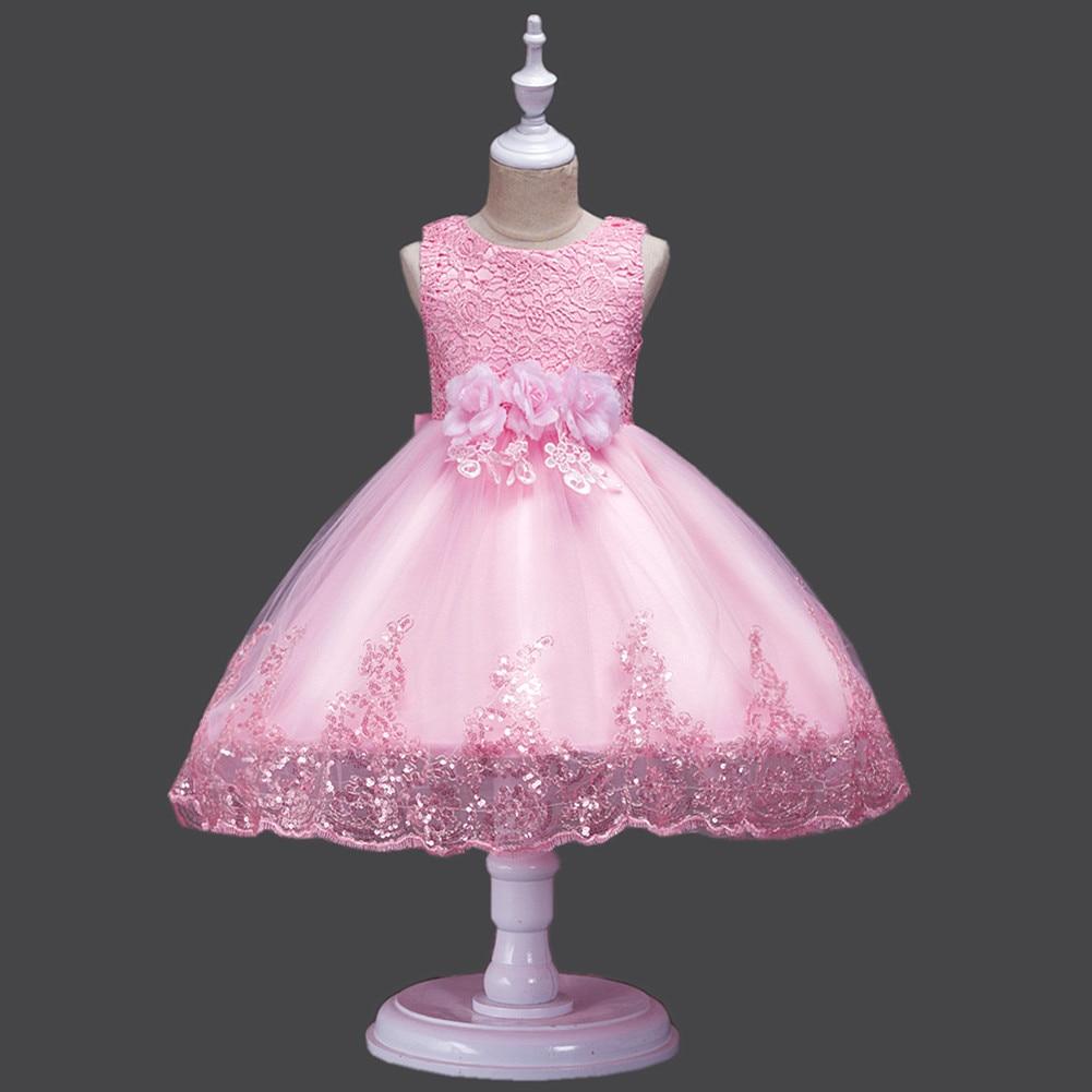 It's Yiya/платье с цветочным узором для девочек кружевные платья для первого причастия для девочек, элегантные рождественские Бальные платья без рукавов с блестками, 575 - Цвет: Розовый