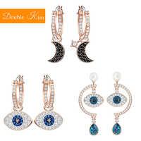 Eye of the demon Stud Earrings Titanium Stainless Steel Inlaid Zircon Earrings Moon Earrings Fashion Trendy Women Jewelry Gift