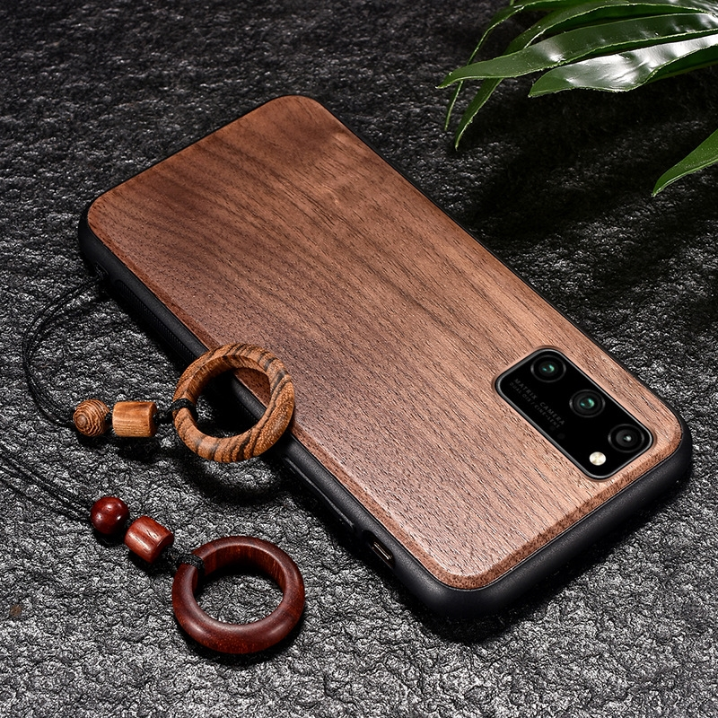Real Wooden Hard Shockproof Back Phone Cover with Wood Lanyard for Samsung Galaxy S20 Plus
