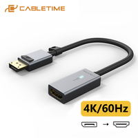 CABLETIME Displayport to HDMI Adapter Metal Shell 4K Video Converter for PC Laptop HDMI Cable DP to HDMI Adapter C314