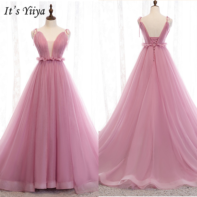 It's Yiiya Evening Dress 2019 Summer Bow Spaghetti Strap Formal Dresses Backless Lace Up Train Elegant Princess Ball Gown E966