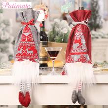 PATIMATE Santa Claus Christmas Wine Bottle Cover Merry Christmas Decorations For Home Christmas Decor 2019 Navidad New Year 2020 стоимость
