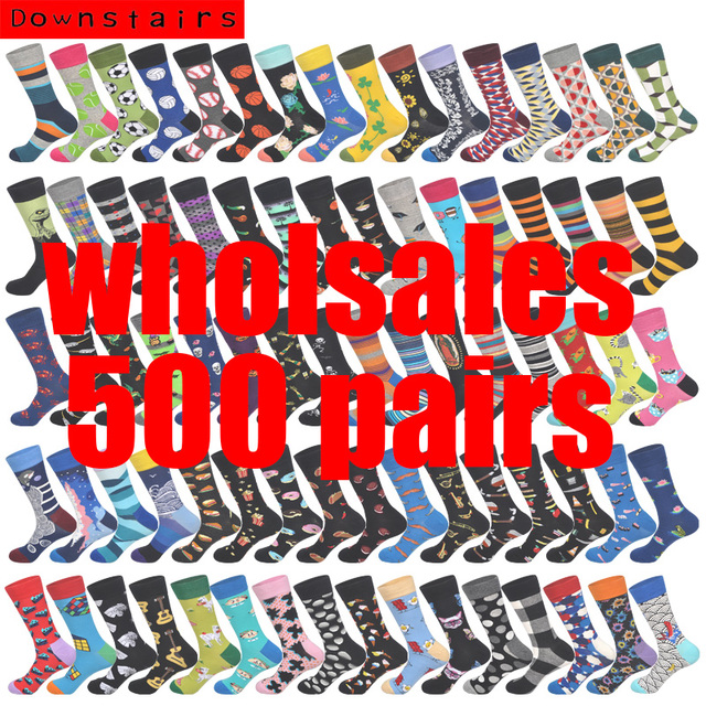 Downstairs 500 Pairs/lot Wholesales Customized Design 600+ Colored Patterns Happy Socks Men PLS Consult Online Customer Service