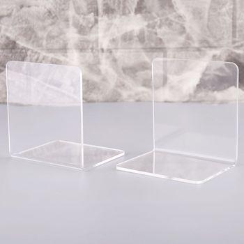 2 sztuk przezroczysty akrylowy Bookends w kształcie litery L Organizer na biurko pulpit stojak na książkę szkoła papiernicze akcesoria biurowe N1HD tanie i dobre opinie N1HD5AC1101323 Metal