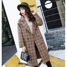 2019 Autumn Women's Woolen Plaid yellow Coat Fashion Long Woolen Coat Slim Winter Elegant Wool Jacket Female Casual Outerwear new women wool blends long coat autumn winter 2019 fashion sashes woolen jacket slim outerwear female