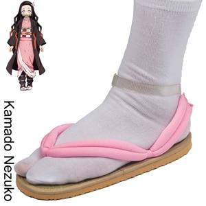Image 3 - Обувь для косплея по японскому аниме Demon Slayer Kimetsu No Yaiba, танджиру, сандалии Kamado Nezuko Geta, сабо Agatsuma Zenitsu, шлепанцы