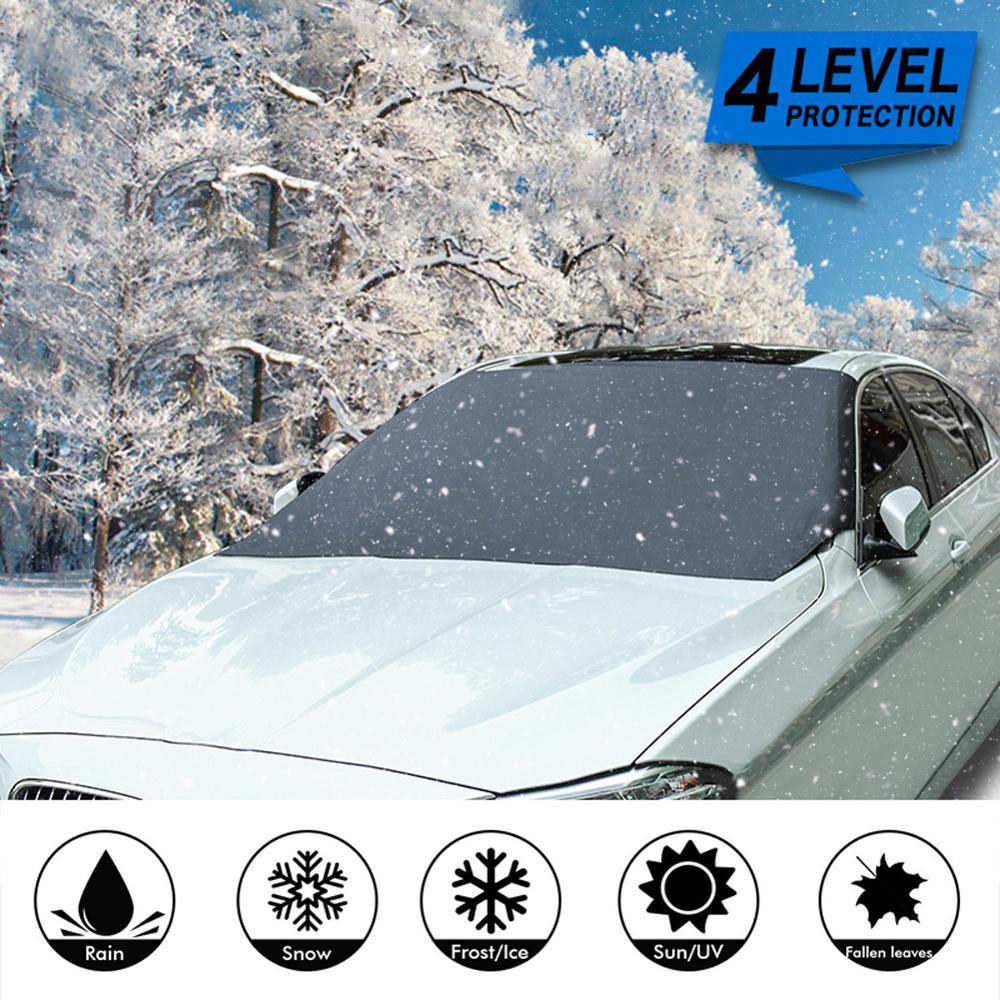Parabrisas delantero Universal del coche cubierta magnética del Protector del parabrisas del escudo de hielo de la nieve 210x120cm Auto Anti-Frog Protector Anti-niebla Protector para volante de coche FORAUTO, fundas de cuero de PU antideslizantes y transpirables, adecuado para decoración de automóvil de fibra de carbono de 37-38cm