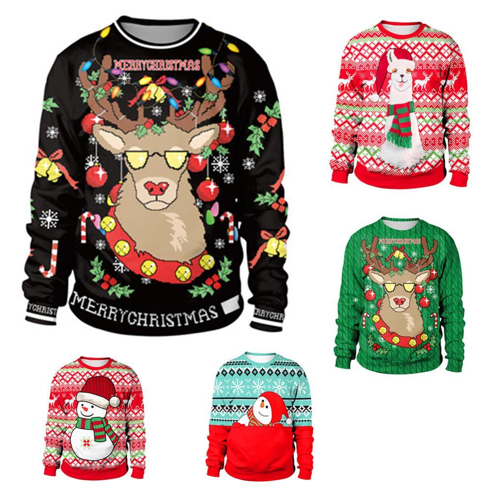 Женский и мужской пуловер с оленем, Рождественский пуловер с 3d рисунком снеговика, одежда для осени и зимы Водолазки      АлиЭкспресс