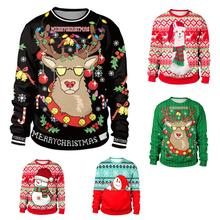 Ugly Christmas Sweater snowman For gift Santa reindeer Pullover Womens Mens 3D J
