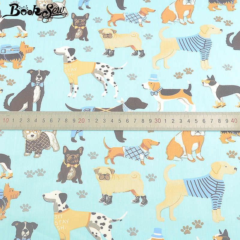 % 100% pamuk malzeme mavi kumaş boyası dimi baskılı Pet köpekler tasarım DIY Telas De Algodon Para Patchwork dikiş tekstil Tecido