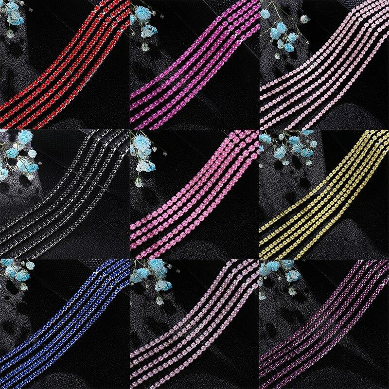 2 мм 2,5 мм 1 ярд/шт 12 цветов красочные жемчужные коготь цепи, серебристые снизу пришить чашки цепи для diy одежды сумки украшения|Стразы|   | АлиЭкспресс