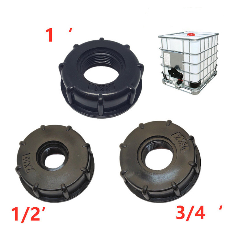 1/2 Inch 3/4 Inch 1 Inch Thread IBC Tank Adapter Tap Connector Replacement Valve Fitting For Home Garden Water Connectors Black