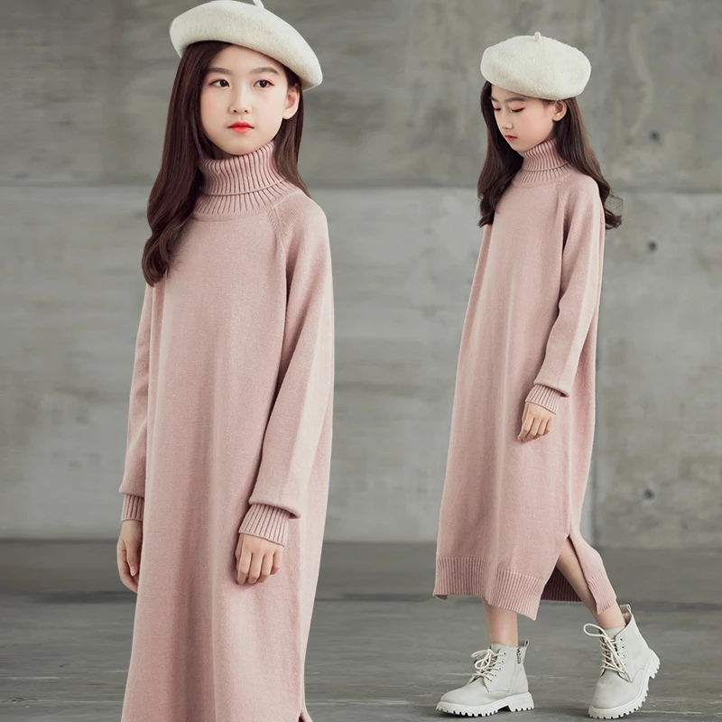 Girls Dress 8 To 9 Years 2020 Winter Clothes For Teenage Girls Sweater Dress Long Sleeve Solid Warm Kids Clothes Girls 7 To 8 12 6