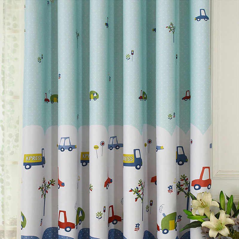 Cute Cartoon Car Curtains for Children Bedroom Living Room Window Decorations Household Polyester Screen Perforated Curtain