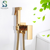 Luxuriöse Gold Bad Bidet Wasserhahn Hygienisch Reinigen Hochdruck Bidet Tragbare Bidet Gun Sprayer Kalten Heißer Wasser mischbatterien