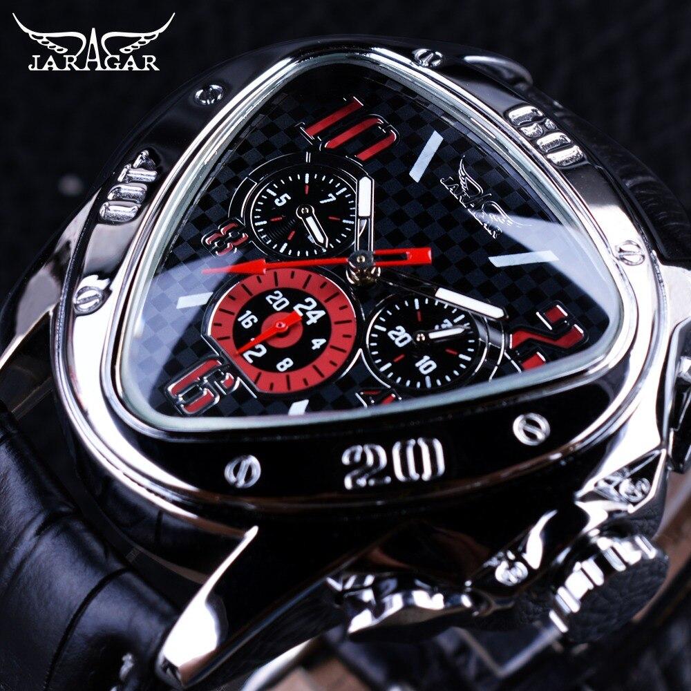 Jaragar Sport Racing Design Geometric Triangle Pilot cuero genuino hombres reloj mecánico de marca superior de lujo reloj de pulsera automático