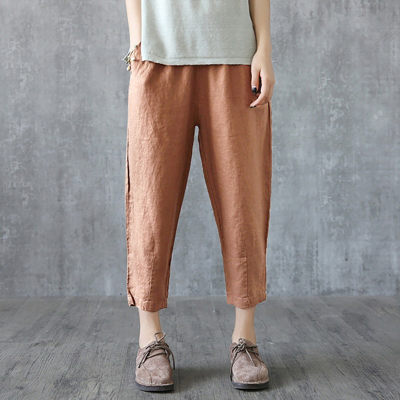 OEAK Women Linen Pants Summer Pant Capris Loose Thin Fabric Linen Cotton Pant Solid Color Harem Pants Plus Size Women 2019