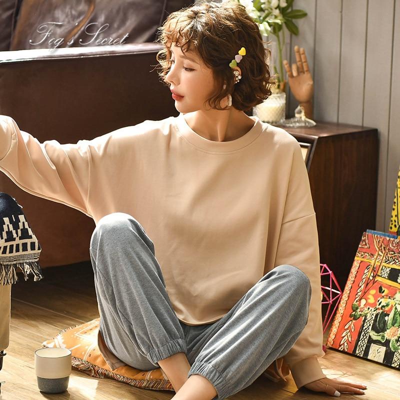 Women pajamas sets loose casual housewear T shirt with long trousers cotton sleepwear pijama feminino 51