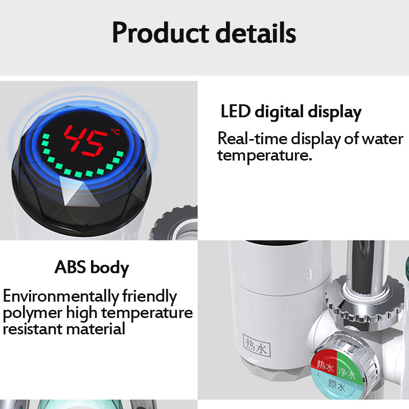 2 in 1 Kitchen Faucet Purifier Instant Hot Water 3000W Digital LCD Display Electric Water Heater Tankless Fast Heating Water Tap 37