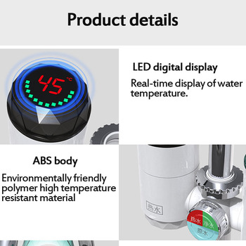 2 in 1 Kitchen Faucet Purifier Instant Hot Water 3000W Digital LCD Display Electric Water Heater Tankless Fast Heating Water Tap 42