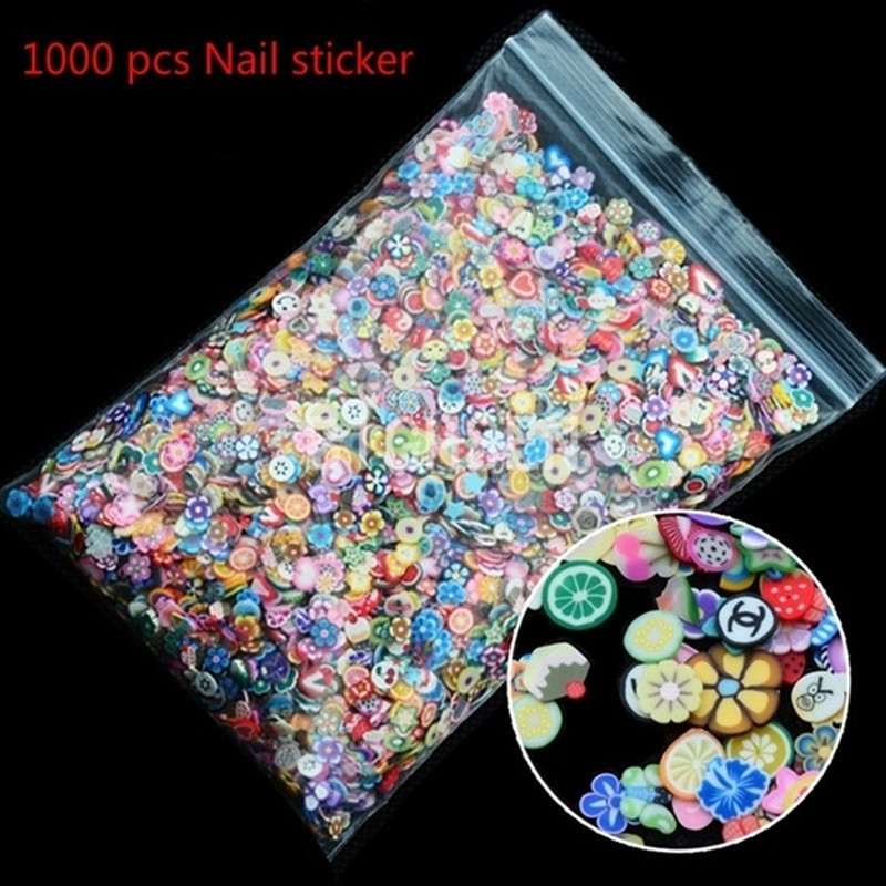 Hot 1000pcs Nail Art 3d Fruit Mix Designs Tiny Fimo Slices Polymer Clay DIY Beauty Nail Stickers Decorations