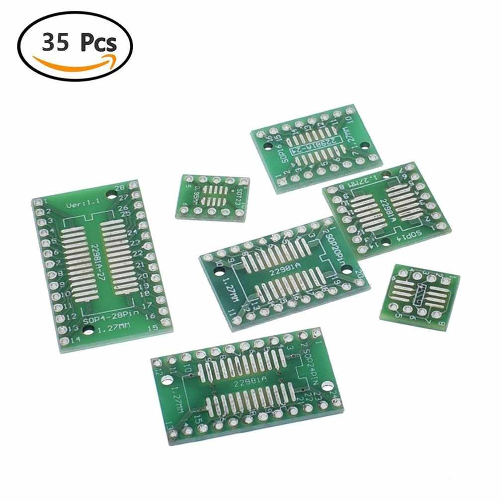 35pcs มูลค่า 7/5pcs บอร์ด PCB SMD เปิด DIP SOP MSOP SSOP TSSOP SOT23 8 10 14 16 20 24 28 SMT DIP