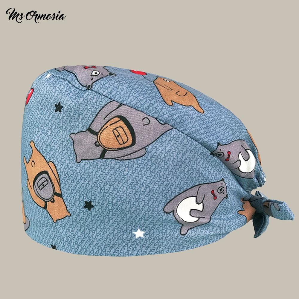 New School Bag Bear Print Doctor Surgical Cap Men And Women Cotton Scrub Cap Beauty Hospital Work Cap Elastic Band Nurse Hat