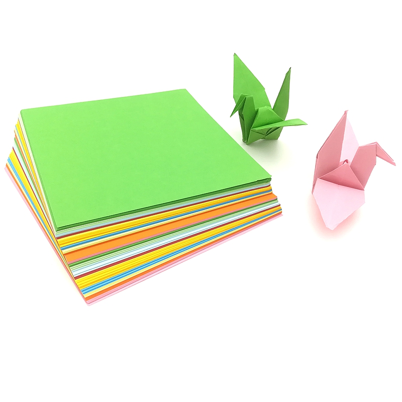 100Sheets/pack 7cm 10cm 15cm Size Mix Color Square DIY 10Kinds Of Patterns Paper Craft Origami Folding Color Paper