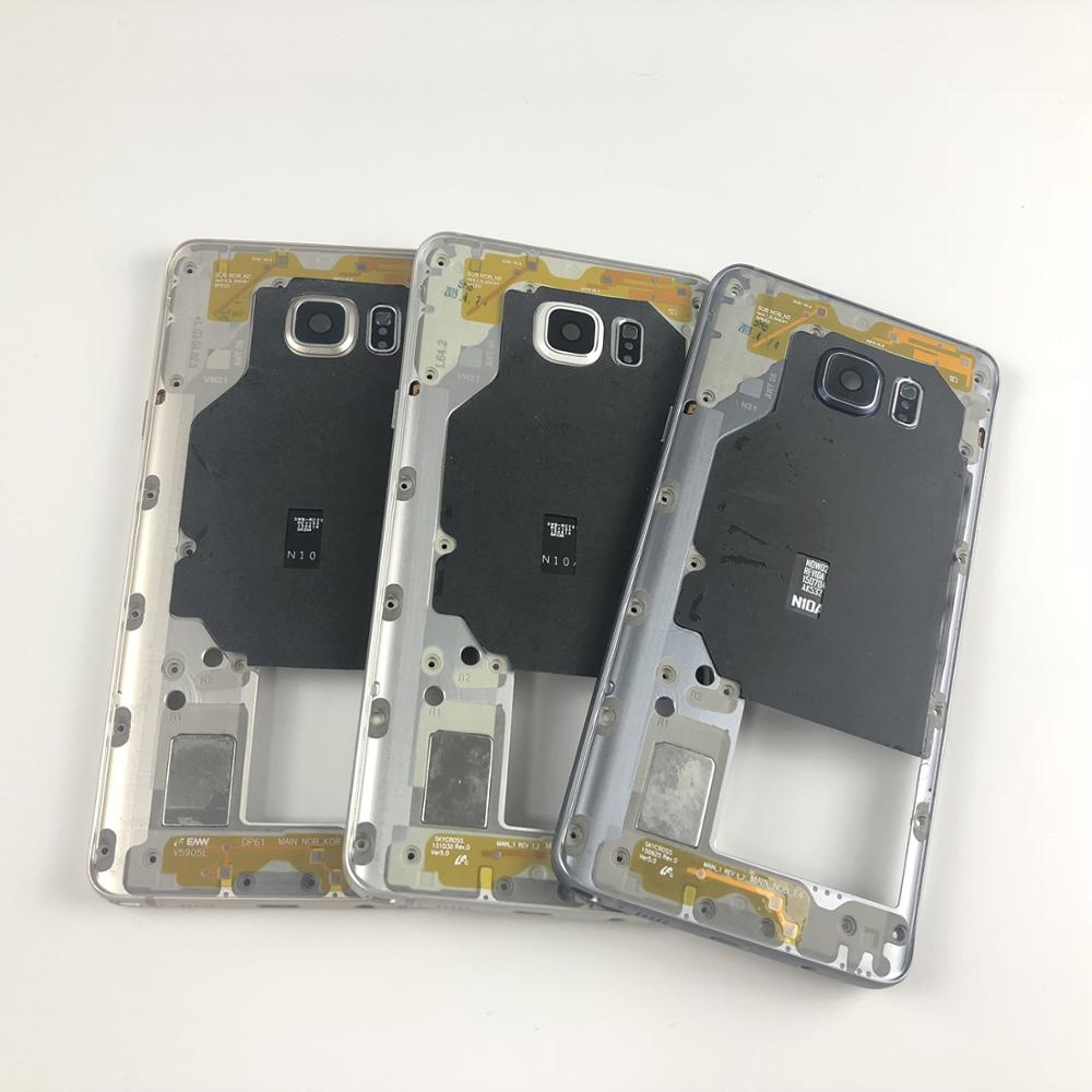 For Samsung Galaxy Note 5 N920 N920F Housing Metal Middle Frame With Side Button And Camera Lens Cover(NOTE 5 All Versions)