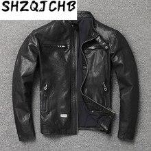 JCHB 2021  Genuine Leather Jacket Men Vintage Spring Autumn Goatskin Learher Coats Motorcycle Jacket for Men Style  KJ6652
