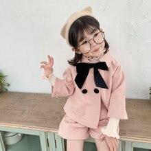 Модные наряды для девочек комплект осенней детской одежды для девочек 4, 6, 8 лет, комплекты одежды из 2 предметов, пальто+ шорты, детский спортивный костюм