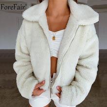 Forefair Winter Autumn Women Lapel Zipper Pocket Jacket Coat Outwear Loose Overs