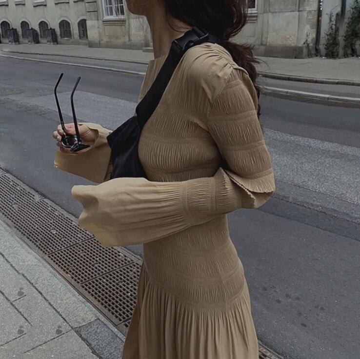2019 Новое Женское платье миди осенне зимнее плиссированное платье с коротким рукавом, женские длинные платья, повседневная одежда - 4