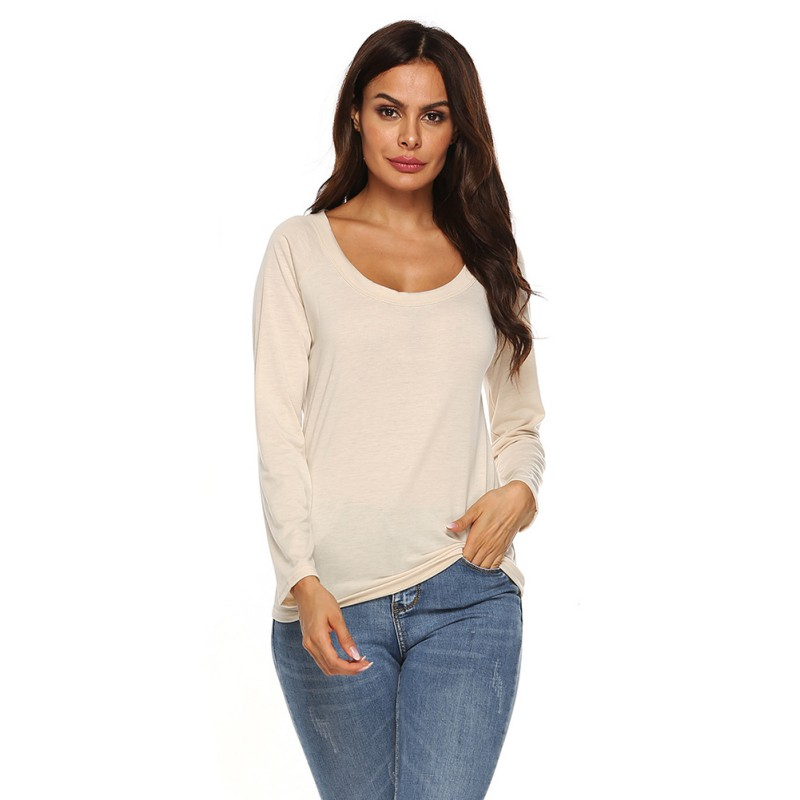 Women <font><b>2</b></font> Colors Fashion <font><b>Sexy</b></font> Backless Hollow Solid Color Women Top Simple Casual Round Neck Long-sleeved T-<font><b>shirt</b></font> image