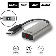 Reiyin DAC USB C Toslink 광학 3.5mm 헤드셋 192kHz 24bit 오디오 어댑터 PC 사운드 카드