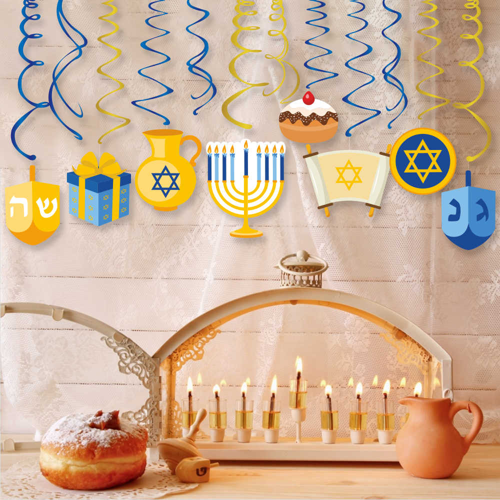 Chanukah Party Hanging Swirls Hanukkah Party Decorations Paper Cards PVC Ceiling Spiral Party Supplies