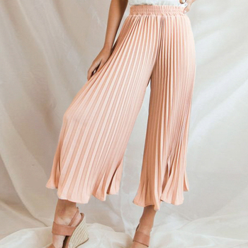 Simplee Casual pleated chiffon pants women Summer female elegant ruffle office elastic band pants Ladies solid soft pants 2019