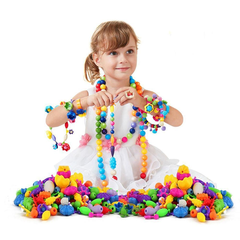 200/320/550Pcs Children Kids Girl DIY Beads Necklace Bracelet Jewelry Making Toy Helping develop brain improve practical ability